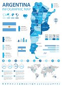 Argentina - infographic map and flag - illustration