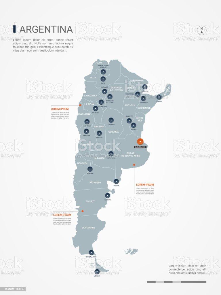 Argentina infographic map vector illustration. vector art illustration