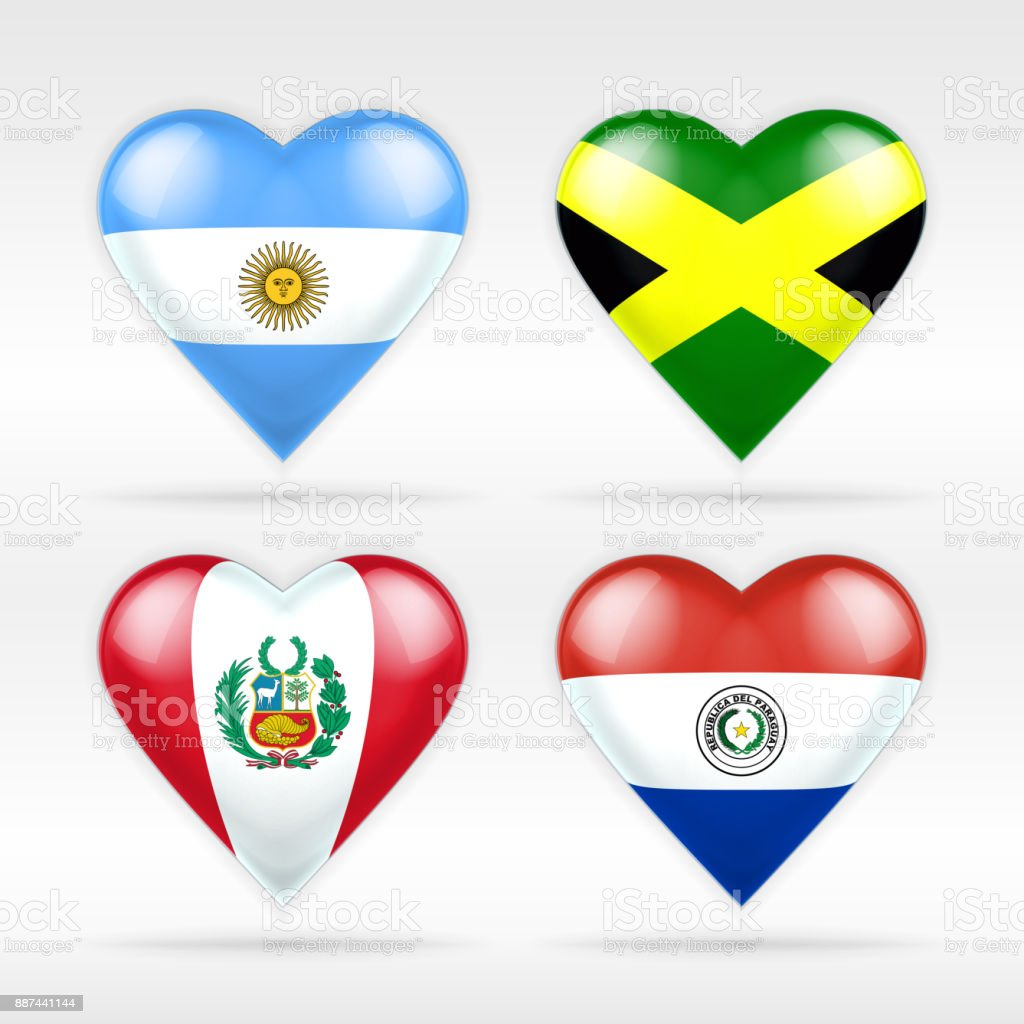 Argentina, Jamaica, Peru and Paraguay heart flag set of American states vector art illustration