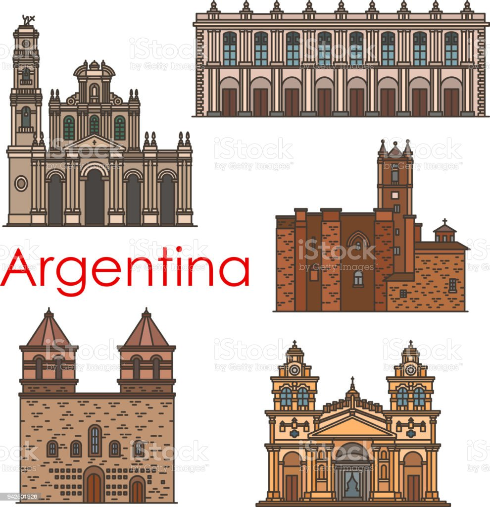 Argentina Sevärdheter Vektor Arkitekturen Linje Ikoner Vektorgrafik
