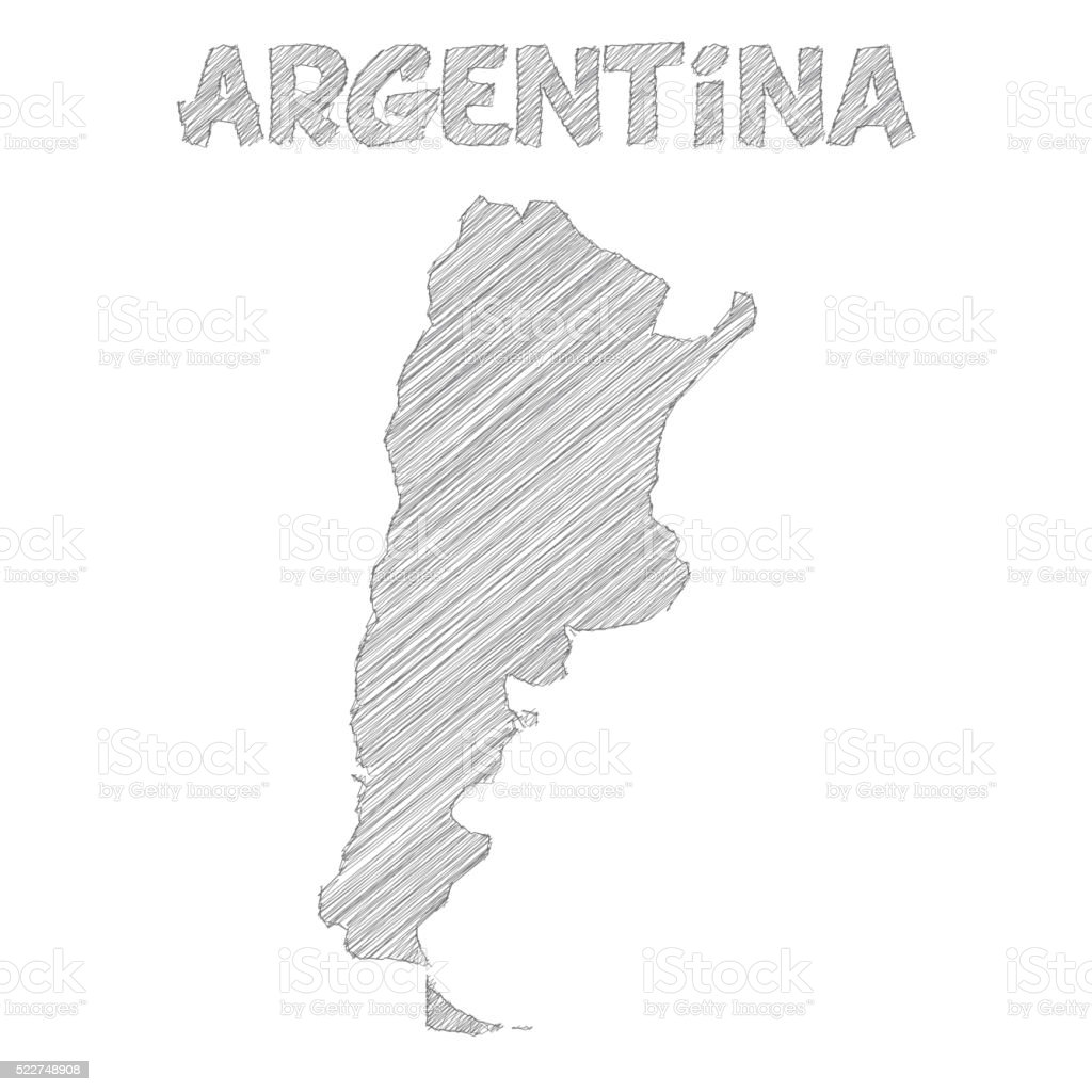 Argentina Map Hand Drawn On White Background Stock Vector Art - Argentina map vector