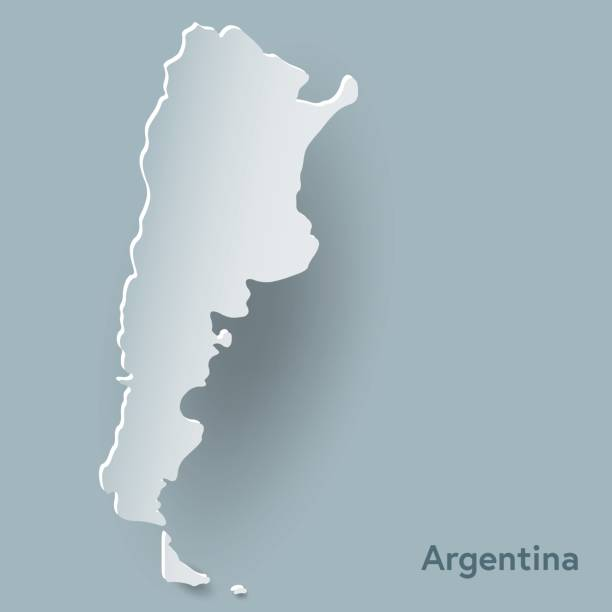 Argentina map in white and shadow vector art illustration