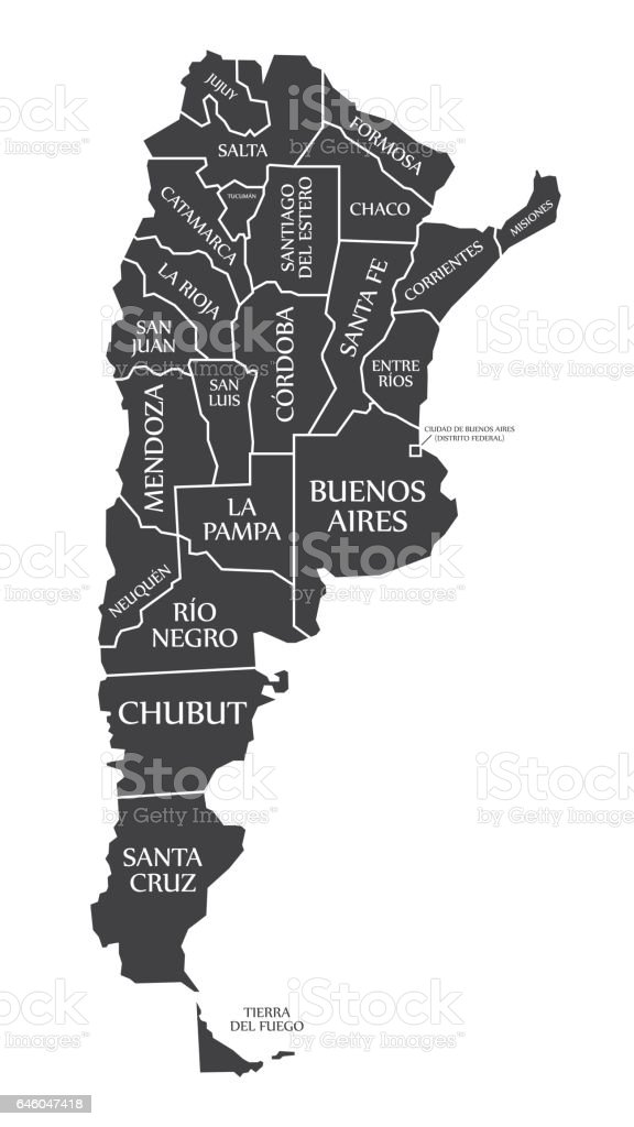 Argentina Map labelled black illustration vector art illustration