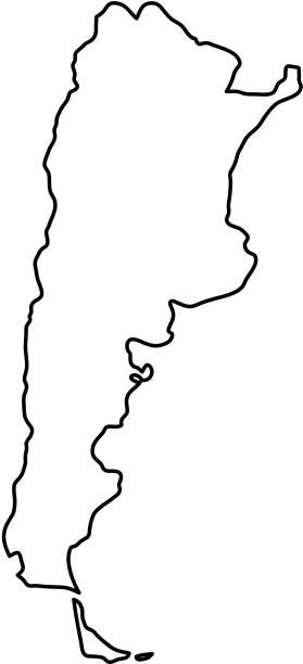 illustrations, cliparts, dessins animés et icônes de carte de l'argentine de courbes de contour noirs d'illustration vectorielle - argentine