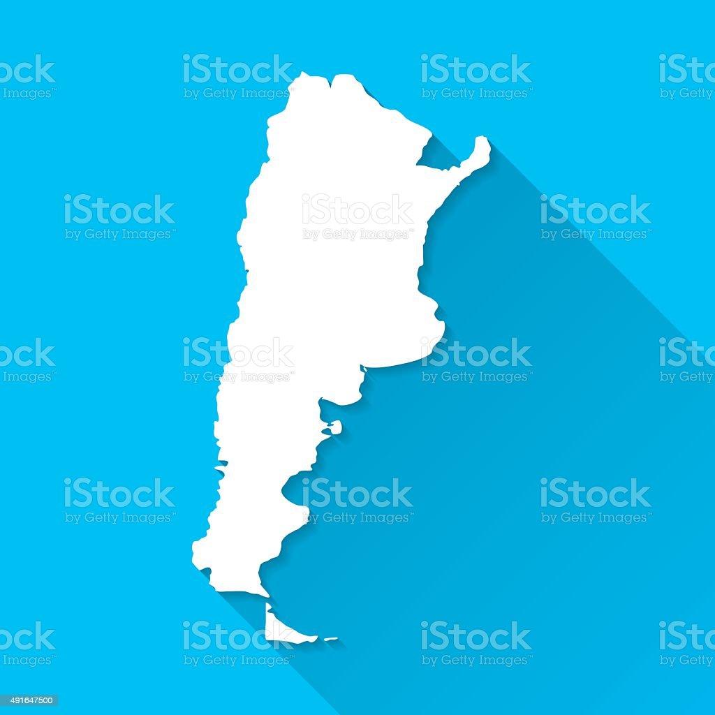 Argentina Map on Blue Background, Long Shadow, Flat Design vector art illustration