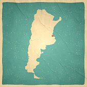 Map of Argentina with a retro style, a vintage effect on an old textured paper.