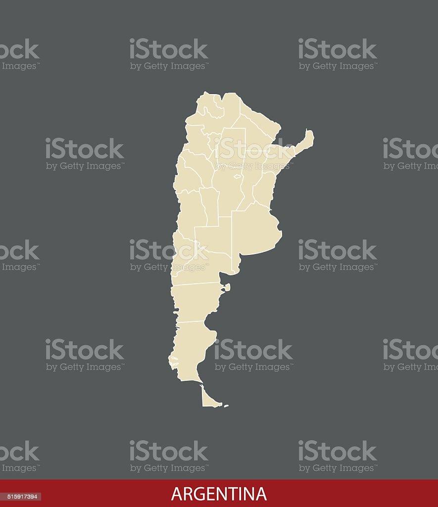 Argentina map outline vector in gray background vector art illustration
