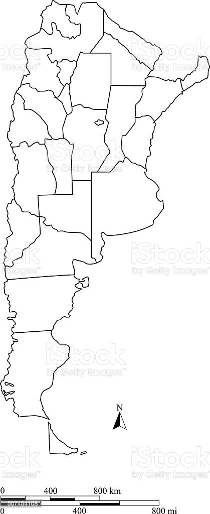 Argentina Map Outline Vector With Scales In A Blank Design Stock - Argentina map outline