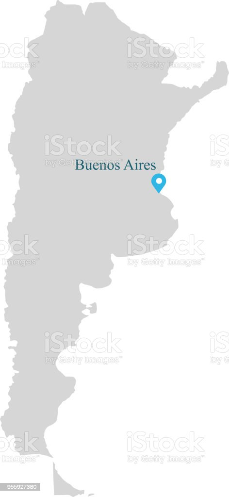 Argentina map vector outline illustration with capital location argentina map vector outline illustration with capital location buenos aires in gray background gumiabroncs Gallery