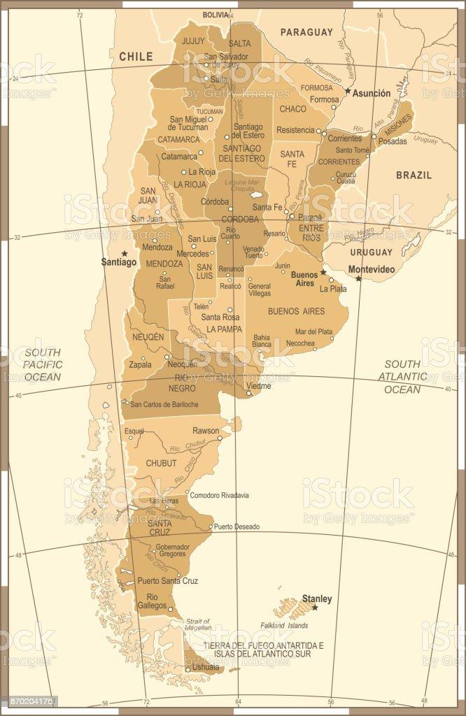 Argentina Map Vintage Vector Illustration Stock Vector Art - Argentina map vintage
