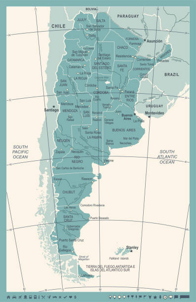 Cordoba Argentina Clip Art Vector Images Illustrations IStock - Argentina map vintage