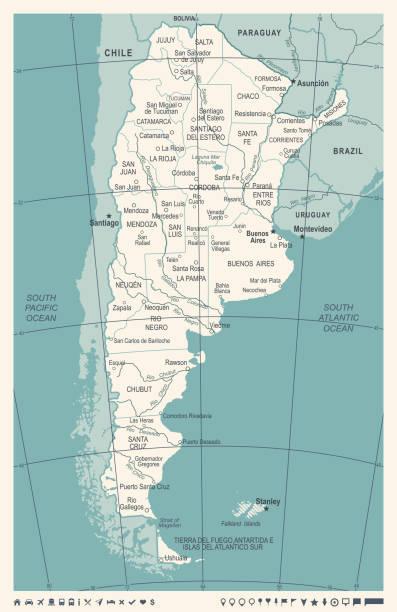 illustrations, cliparts, dessins animés et icônes de carte de l'argentine - illustration vectorielle vintage - argentine