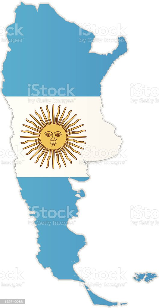 Argentina Map With Flag Stock Vector Art IStock - Argentina map vector free