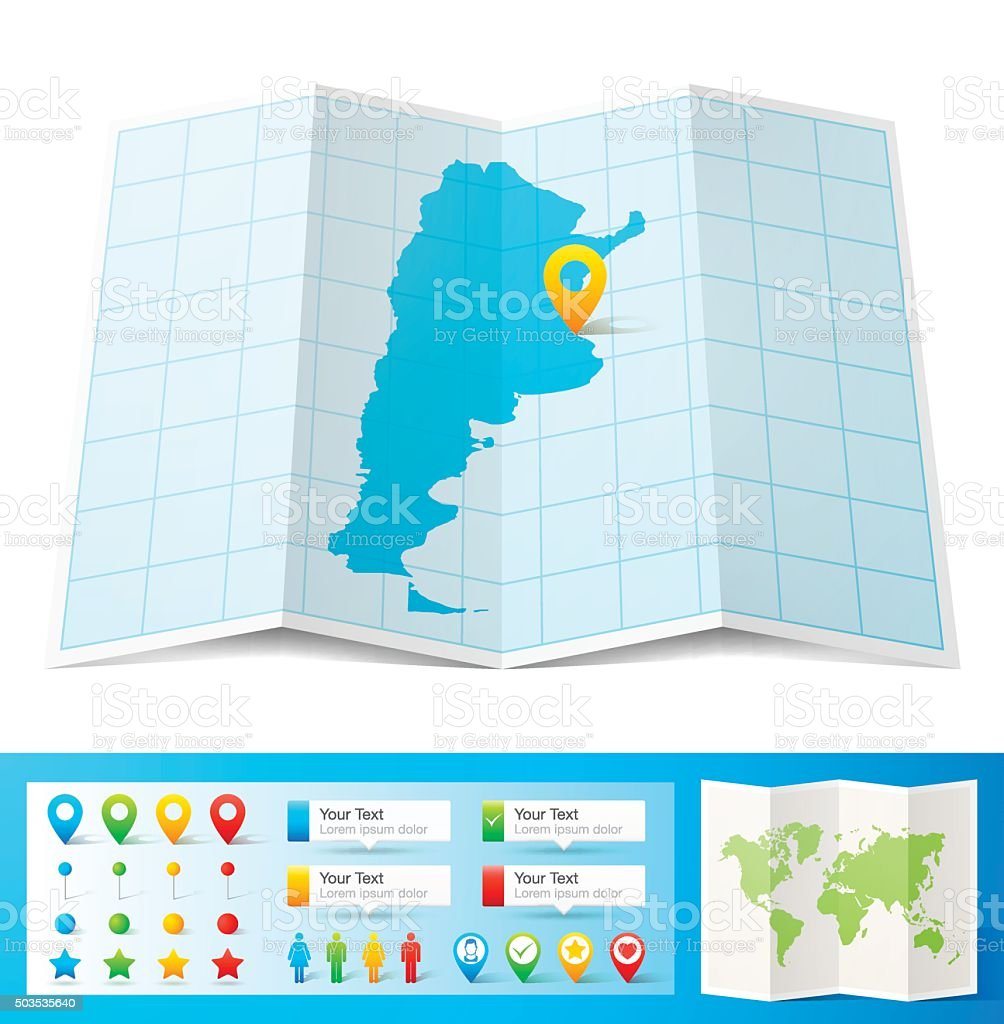 Argentina Map with location pins isolated on white Background vector art illustration
