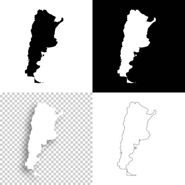 Argentina maps for design - Blank, white and black backgrounds vector art illustration