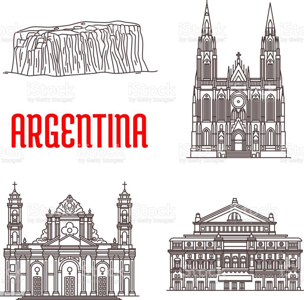 Argentina natural and architecture landmarks vector art illustration