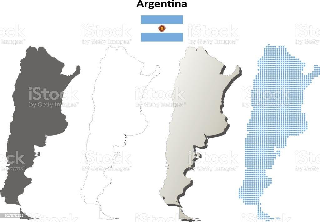 Argentina outline map set vector art illustration