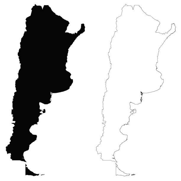 Argentina outline map vector art illustration