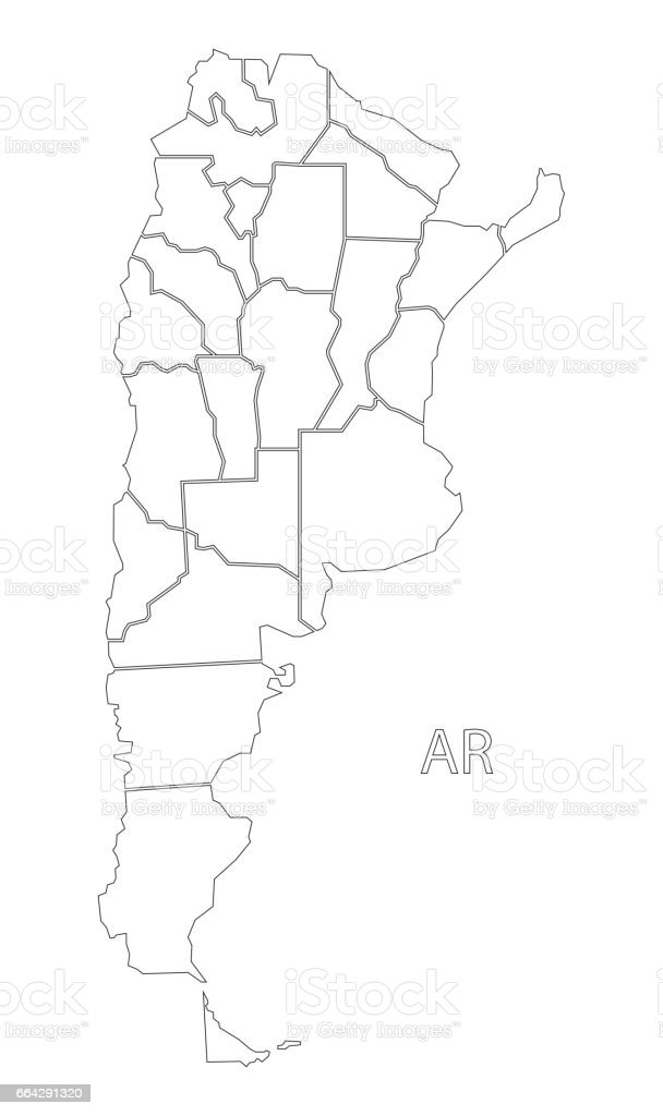 Argentina Outline Silhouette Map Illustration With Provinces Stock - Argentina map provinces