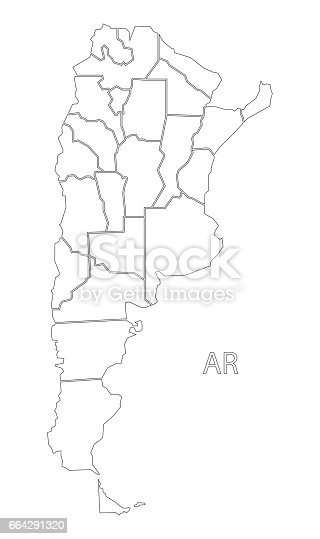 Argentina Outline Silhouette Map Illustration With Provinces Stock - Argentina map black and white