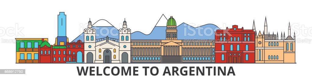 Argentina Disposition Skyline Argentinska Platt Tunn Linje Ikoner