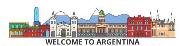 Argentina outline skyline, argentinian flat thin line icons, landmarks, illustrations. Argentina cityscape, argentinian travel city vector banner. Urban silhouette vector art illustration
