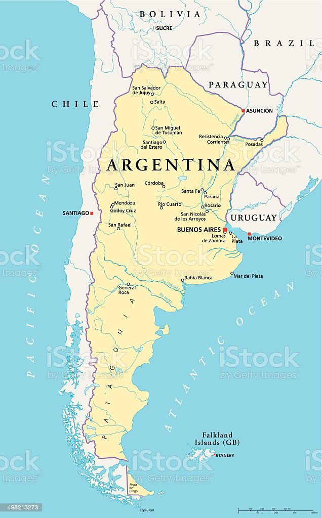 Argentina Political Map vector art illustration