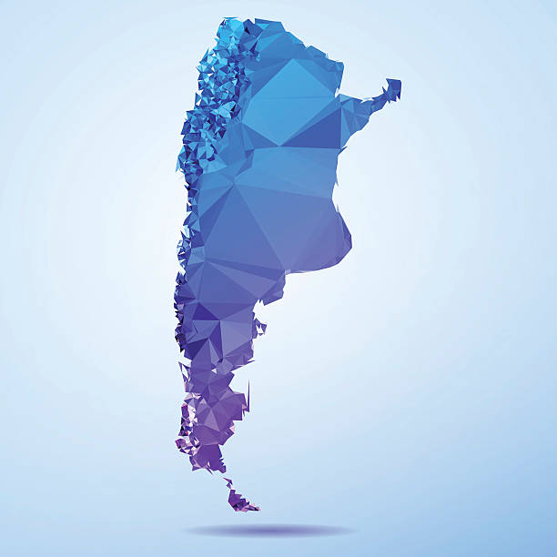 Argentina Polygon Triangle Map Blue Abstract Polygon Triangle vector map of Argentina, South America. File was created in DMesh Pro and Adobe Illustrator on July 21, 2015. The colors in the .eps-file are in RGB. Transparencies used. Included files are EPS (v10) and Hi-Res JPG (5035 x 5035 px). map crystal stock illustrations