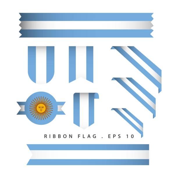 illustrations, cliparts, dessins animés et icônes de l'argentine ruban drapeau vectoriel modèle design illustration - argentine