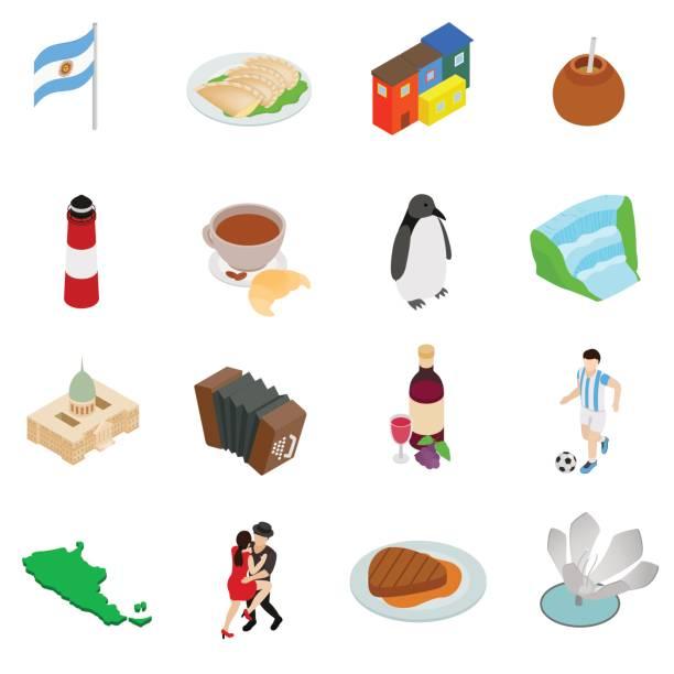 Argentina set icons vector art illustration