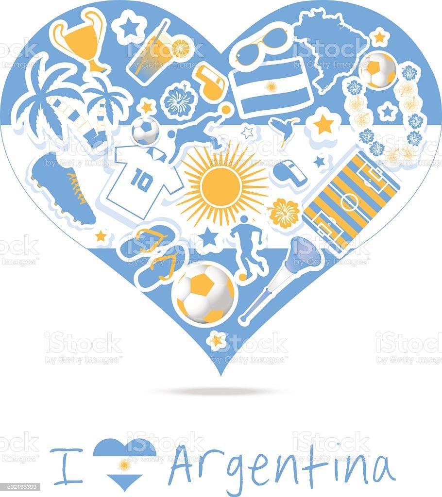 Amor de fútbol de Argentina - ilustración de arte vectorial