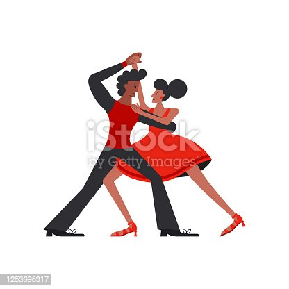 istock Argentina tango dancers couple isolated on white background. 1253695317