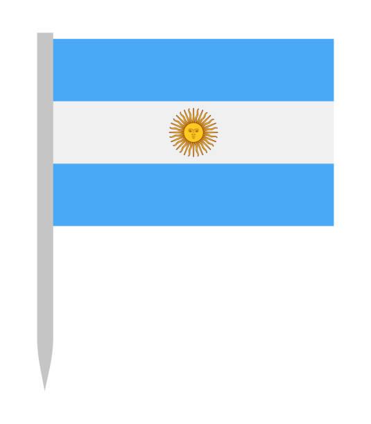 argentina - vector flag pin flat icon - argentina flag stock illustrations, clip art, cartoons, & icons