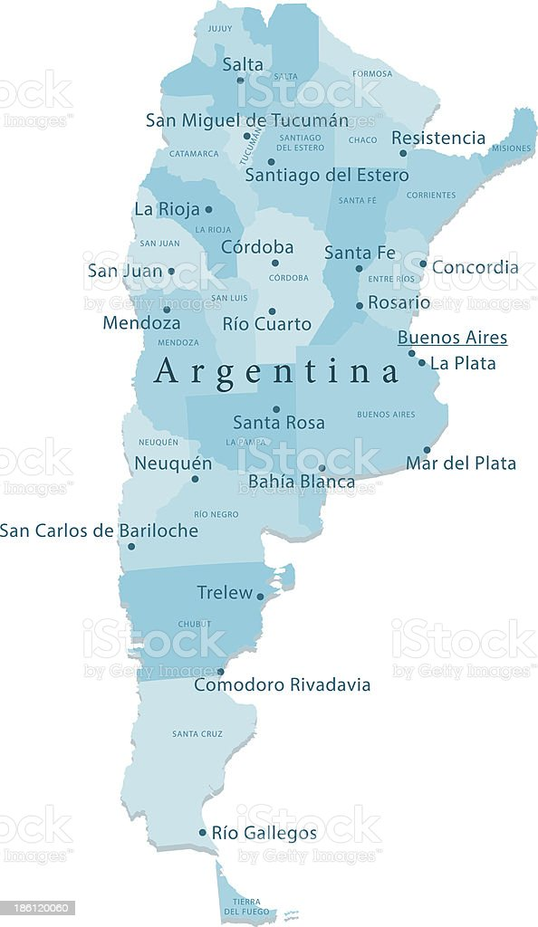 Argentina Vector Map Regions Isolated vector art illustration