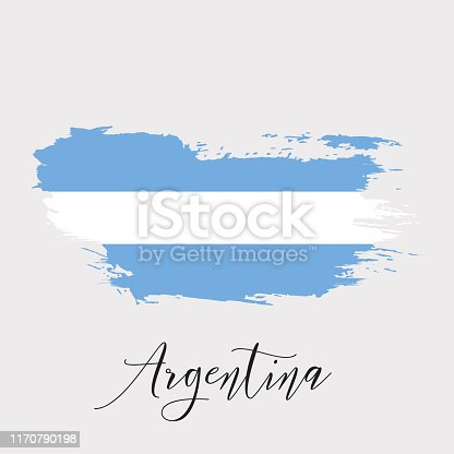 Argentina vector watercolor national country flag icon. Hand drawn illustration with dry brush stain, stroke, spots isolated on gray background. Painted grunge style texture for posters, banner design