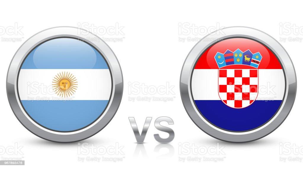 Argentina vs Croacia - partido 23 - Grupo D - torneo de 2018. Botones iconos metálico brillante con banderas nacionales aisladas sobre fondo blanco. - ilustración de arte vectorial