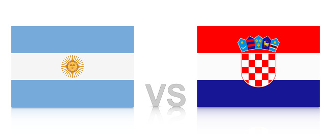 Argentina vs. Croatia. Russia 2018. National flags with reflection isolated on white background.