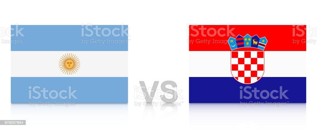 Argentina vs Croacia. Rusia 2018. Banderas nacionales con reflexión aislada sobre fondo blanco. - ilustración de arte vectorial