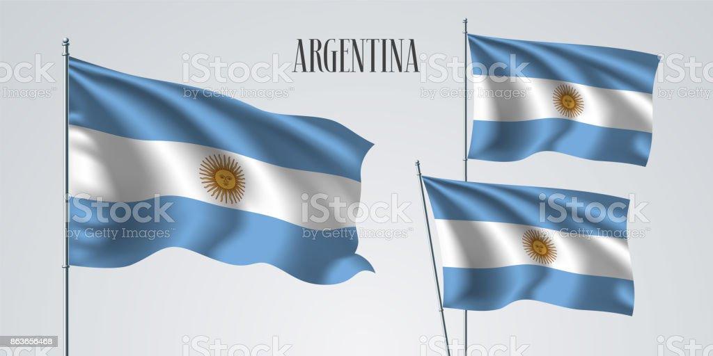 Argentina waving flag set of vector illustration vector art illustration