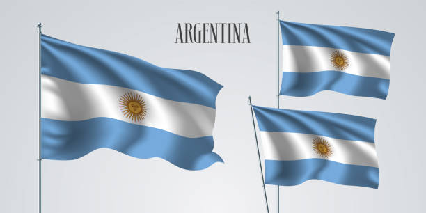 argentina waving flag set of vector illustration - argentina flag stock illustrations, clip art, cartoons, & icons