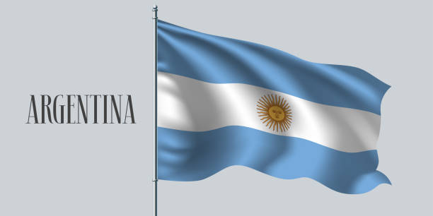 argentina waving flag vector illustration - argentina flag stock illustrations, clip art, cartoons, & icons
