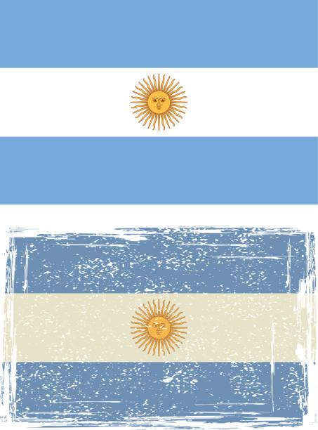 argentine grunge flag. - argentina flag stock illustrations, clip art, cartoons, & icons