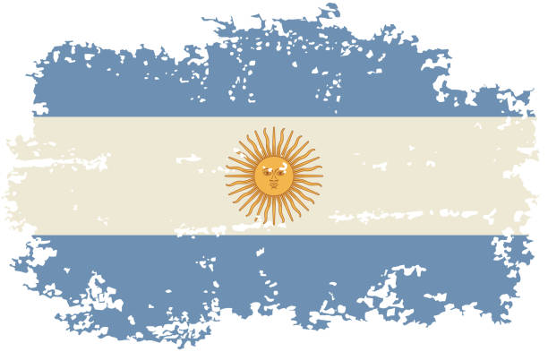 argentine grunge flag. vector illustration. - argentina flag stock illustrations, clip art, cartoons, & icons