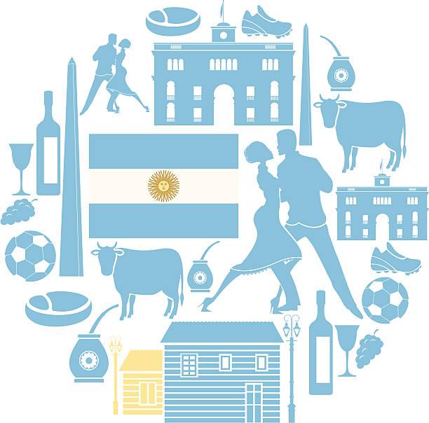 Argentine icon Set vector art illustration