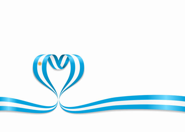 argentinean flag heart-shaped ribbon. vector illustration. - argentina flag stock illustrations, clip art, cartoons, & icons