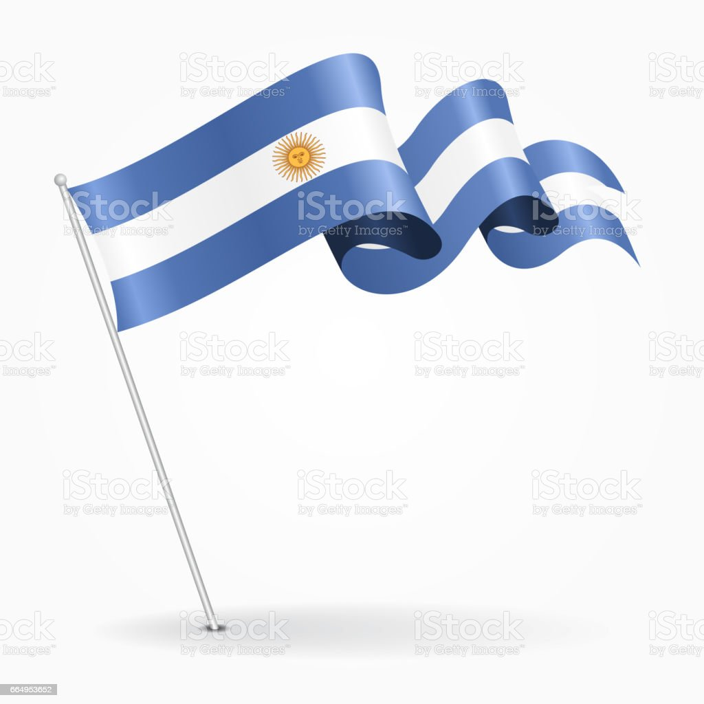 Argentinean pin wavy flag. Vector illustration. vector art illustration
