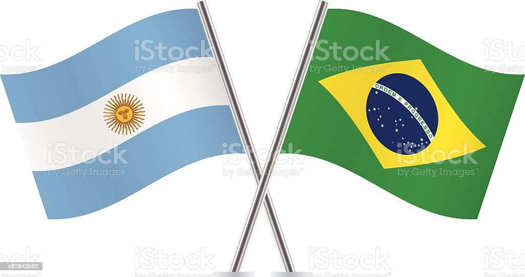 Argentinian and Brazilian flags. Vector. vector art illustration