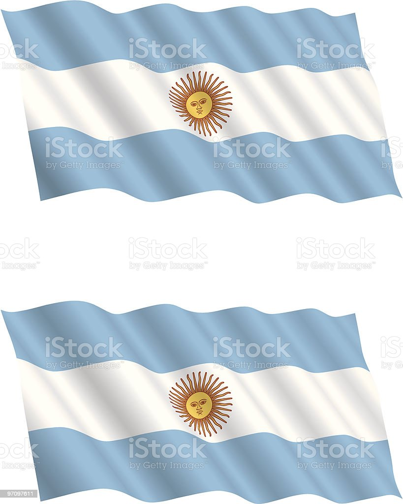 Argentinian Flag Flying in the Wind vector art illustration