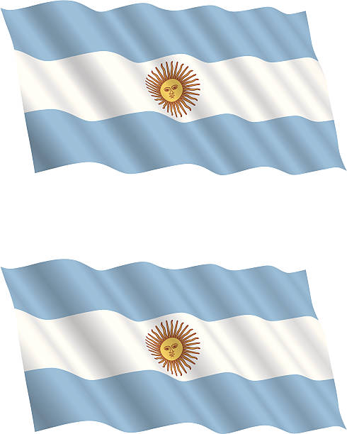 argentinian flag flying in the wind - argentina flag stock illustrations, clip art, cartoons, & icons
