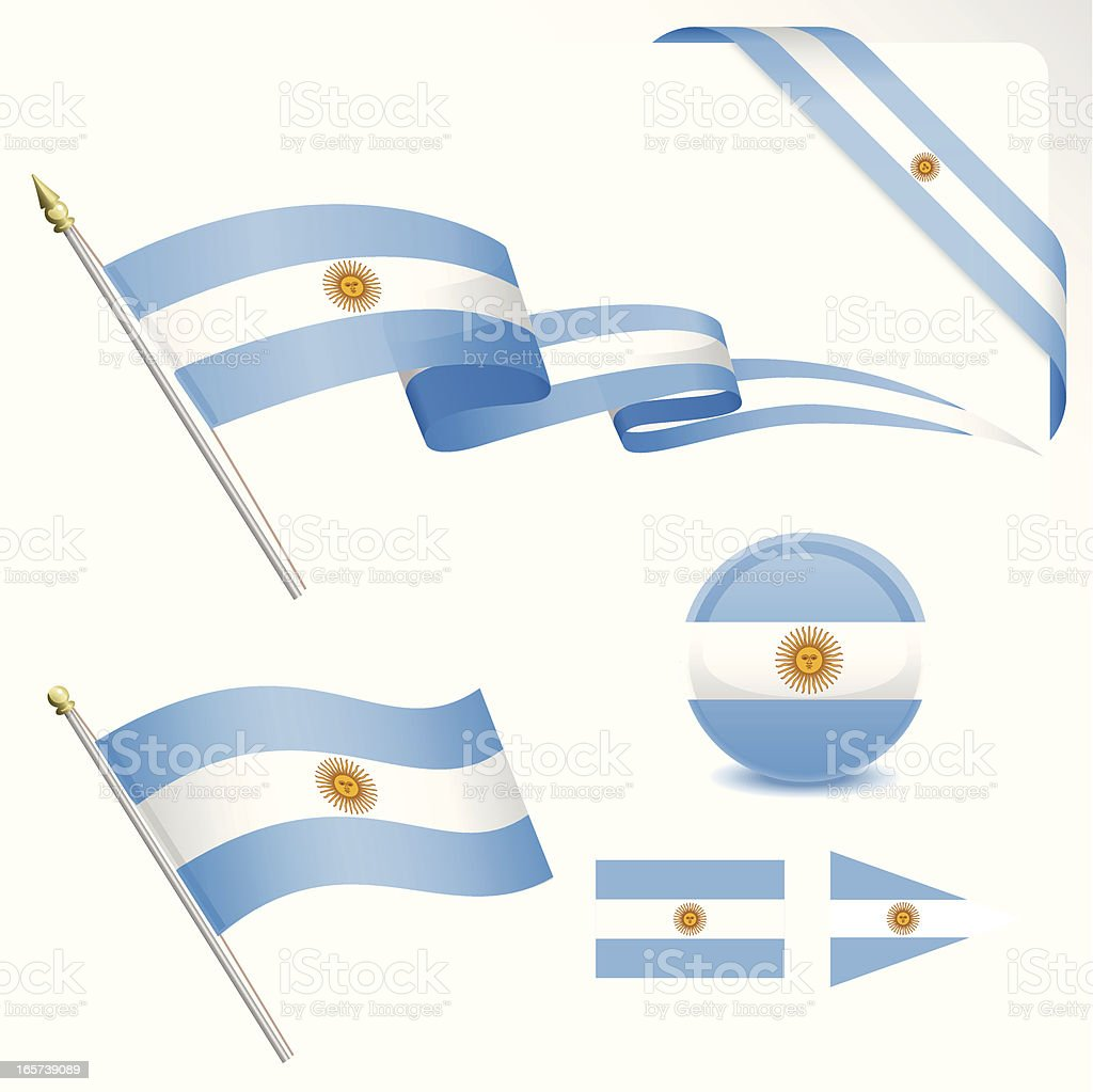 Argentinian Flag Set vector art illustration